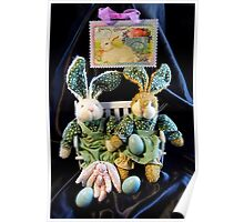 Green Bunnies For Easter Poster