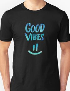 Good Vibes - Funny Smiley Statement / Happy Face (Blue Stars Edit) T-Shirt