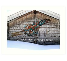 Raven-Rattle on Chalet Facade Art Print