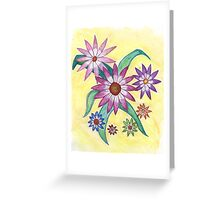 Flowers on Yellow Greeting Card