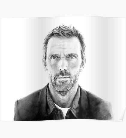 Portrait of James Hugh laurie, pencil Poster