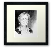 Portrait of Meryl Streep, pencil on a paper Framed Print