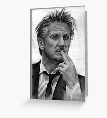 Portrait of Sean Penn Greeting Card