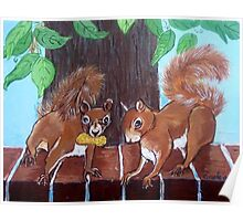Folksy Squirrels Poster
