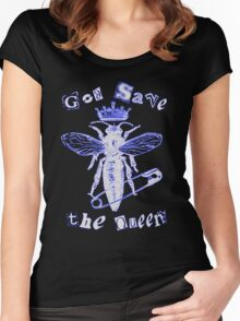 God Save The Queen BW Women's Fitted Scoop T-Shirt