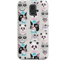 pattern of retro hipster animal portraits  Samsung Galaxy Case/Skin