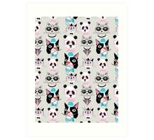 pattern of retro hipster animal portraits  Art Print