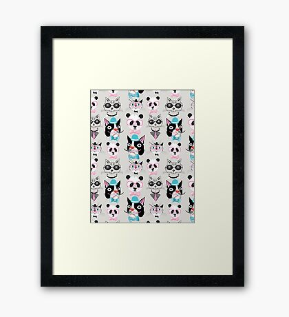 pattern of retro hipster animal portraits  Framed Print