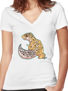 Leopard Gecko Women's Fitted V-Neck T-Shirt