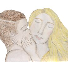 The Kiss Art Print from Original hand coloured illustration by Sian Whitehall by janesapple