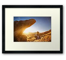 Sometimes The Rock Climbs You Framed Print