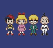 Earthbound Pixels - Ness, Paula, Jeff & Poo by geekmythology