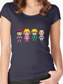 Earthbound Pixels - Ness, Paula, Jeff & Poo Women's Fitted Scoop T-Shirt