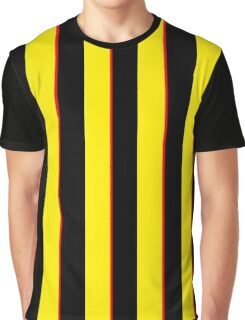 Vertical Stripes Yellow Black and Red Graphic T-Shirt
