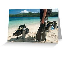 Man going scuba diving Greeting Card