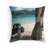 Man going scuba diving Throw Pillow