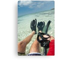 Man with snorkeling equipment Canvas Print