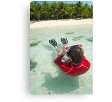 Man snorkeling in shallow water Canvas Print
