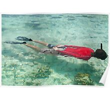 Person snorkeling in clear water Poster