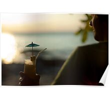 Man with cocktail at sunset Poster