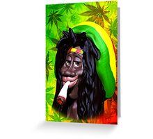 Rastaman Marijuana Caricature 3d Greeting Card