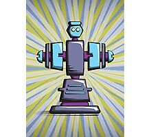 Retro robot – old blue Photographic Print
