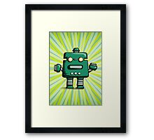 Retro robot – old green Framed Print