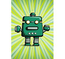 Retro robot – old green Photographic Print