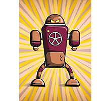 Retro robot – old orange Photographic Print