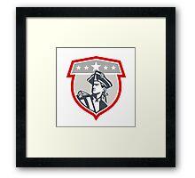American Patriot Looking Up Shield Retro Framed Print