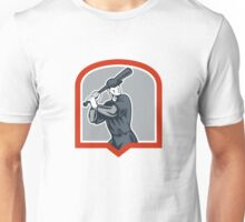 Baseball Batter Batting Woodcut Shield Unisex T-Shirt