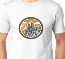 Farmer Driving Tractor Plowing Field Retro Unisex T-Shirt