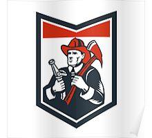 Fireman Firefighter Carry Axe Hose Shield Woodcut Poster