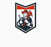 Fireman Firefighter Carry Axe Hose Shield Woodcut Unisex T-Shirt