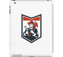 Fireman Firefighter Carry Axe Hose Shield Woodcut iPad Case/Skin