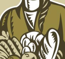 Female Organic Farmer Crop Harvest Woodcut Sticker