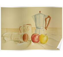 Still life with coffee cups and apples Poster