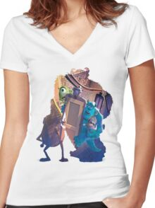 Monsters Inc ~ Doors! Women's Fitted V-Neck T-Shirt
