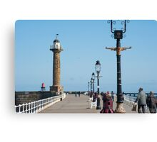 whitby stone pier Canvas Print