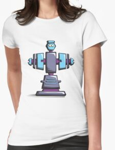 Retro robot – old blue Womens Fitted T-Shirt