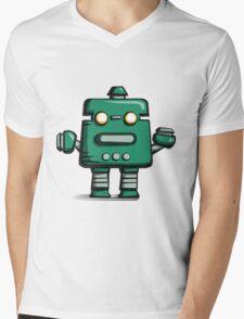 Retro robot – old green Mens V-Neck T-Shirt