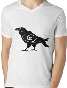 Tribal Raven Mens V-Neck T-Shirt
