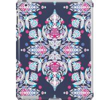 Pastel Folk Art Pattern in soft navy, pink, mauve & white iPad Case/Skin