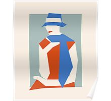 Woman In Blue Hat Poster