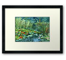 Pink Water Lilies oil Painting by Ekaterina Chernova Framed Print