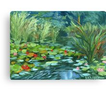 Pink Water Lilies oil Painting by Ekaterina Chernova Canvas Print