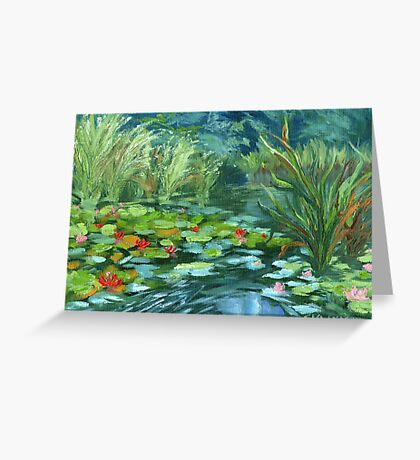 Pink Water Lilies oil Painting by Ekaterina Chernova Greeting Card