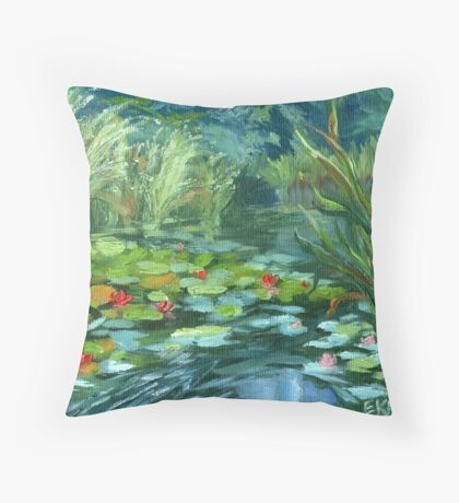 Pink Water Lilies oil Painting by Ekaterina Chernova Throw Pillow