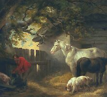 A farmyard by Bridgeman Art Library