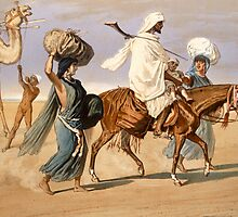 Bedouin family travels across the desert by Bridgeman Art Library